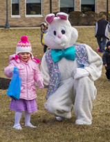 Easter Bunny helping with the egg hunt